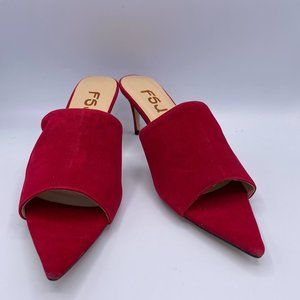 FSJ Red Peep Toe Heels  Suede Sandals Mule